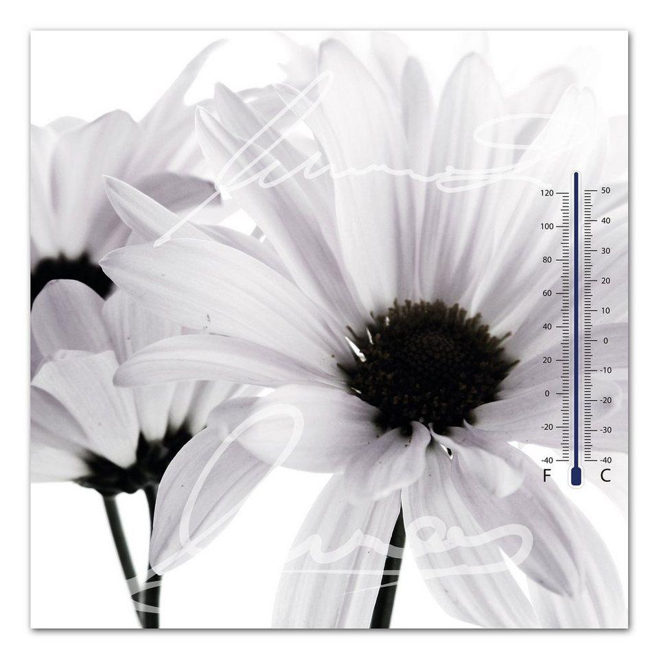 Thermometer Bild, Home affaire, »Weiße Blüte«, 30/30 cm in weiß/schwarz