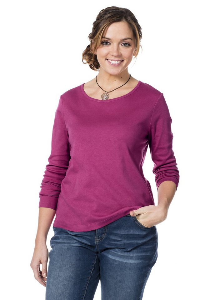 sheego Casual Basic-Shirt (2 Stck.) in schwarz + pink