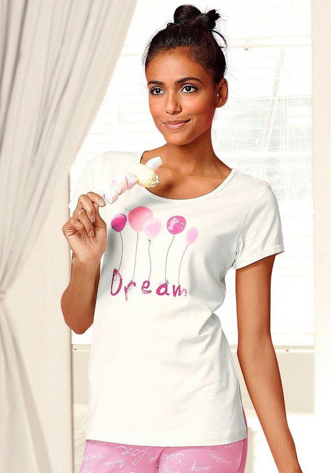 Vivance Dreams Kurzarmshirt »Amy« mit Frontprint in weiß