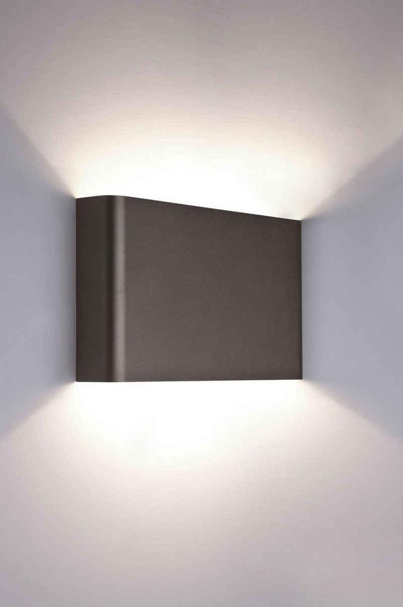 Licht-Erlebnisse Wandleuchte »HAGA«, Up & Down Lampe Wand Graphit eckig Hotelleuchte Flur Lampe