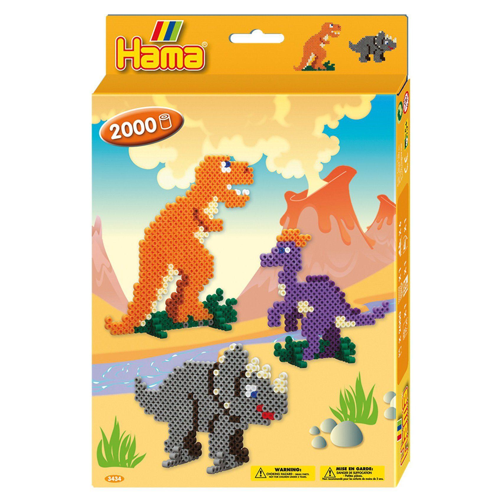 Hama Perlen HAMA 3434 Geschenkset Dino-Welt, 2.000 midi-Perlen & Zubehör