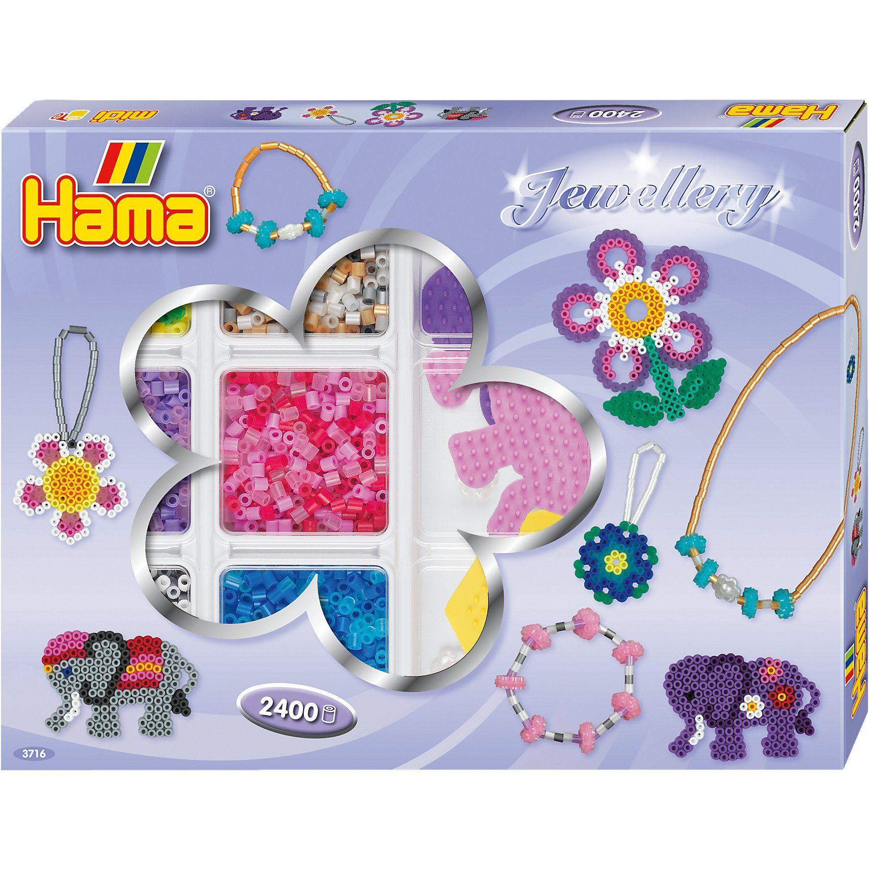 Hama Perlen HAMA 3716 Kreativbox Schmuck, 2.400 midi-Perlen & Zubehör