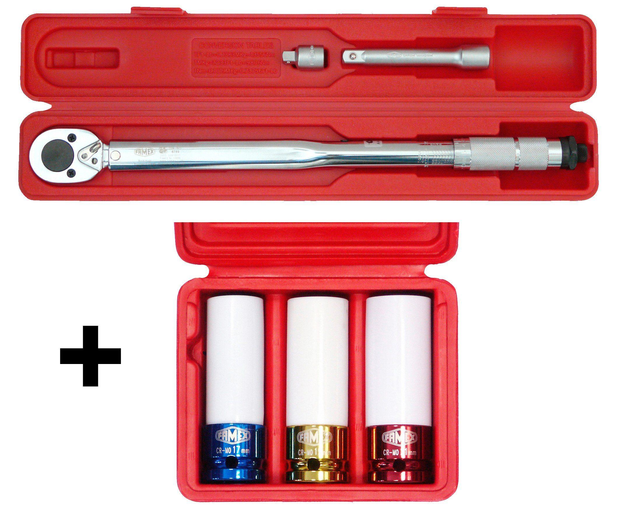 Famex Sparset: Drehmomentschlüssel-Set »30-210 Nm, mit Spezial-Radmutterneinsätzen«
