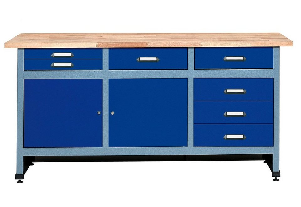Werkbank »2 Türen, 7 Schubladen, in ultramarinblau« in blau
