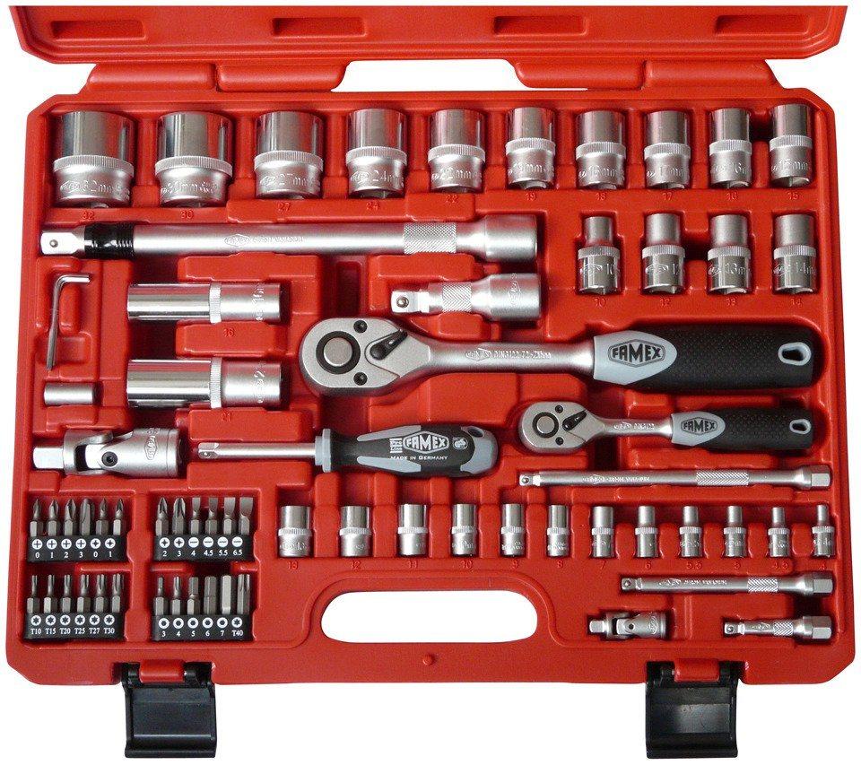 High-End Mechaniker Steckschlüsselsatz mit Feinzahnknarren »FAMEX 580-20 (66-tlg.)« in rot