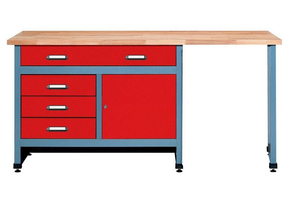 Werkbank »in rot, 1 Tür, 4 Schubladen, Sitzraum« in rot