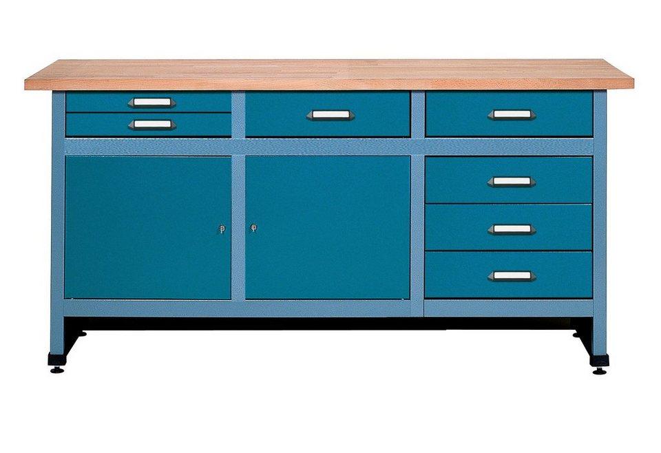 Küpper Werkbank »2 Türen, 7 Schubladen, in hammerschlagblau« in blau
