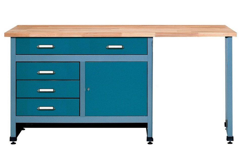 Küpper Werkbank »Tür, 4 Schubladen, Sitzraum, in hammerschlagblau« in blau