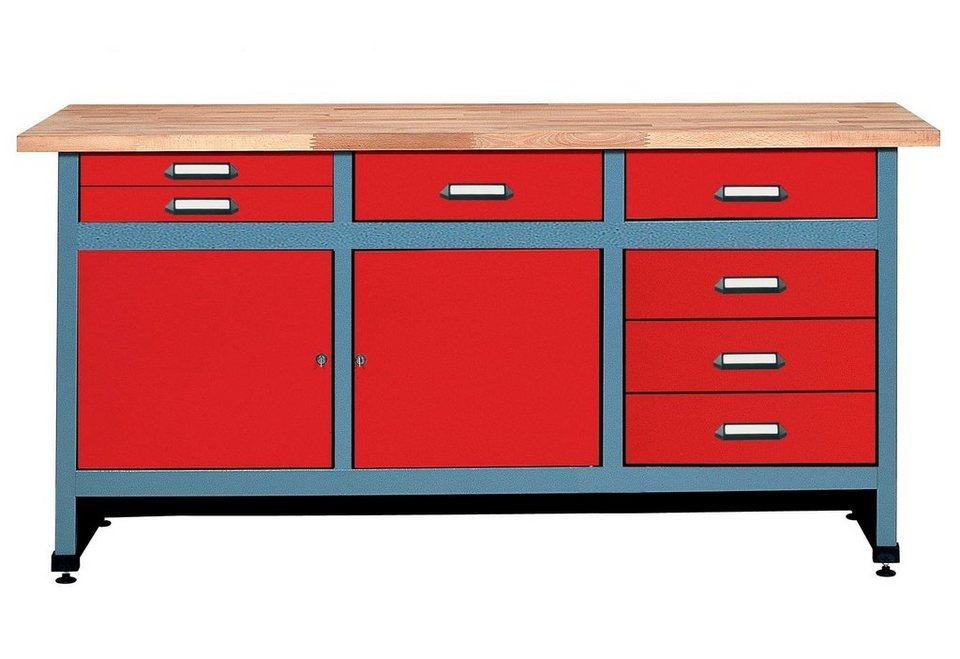 Küpper Werkbank »in rot, 2 Türen, 7 Schubladen« in rot
