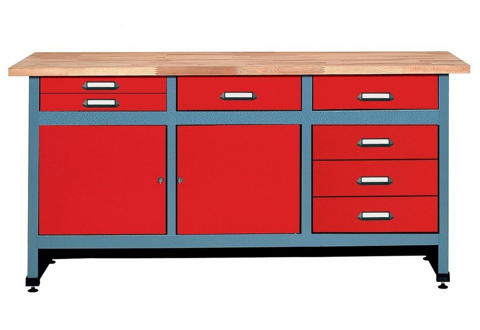 Werkbank »in rot, 2 Türen, 7 Schubladen« in rot