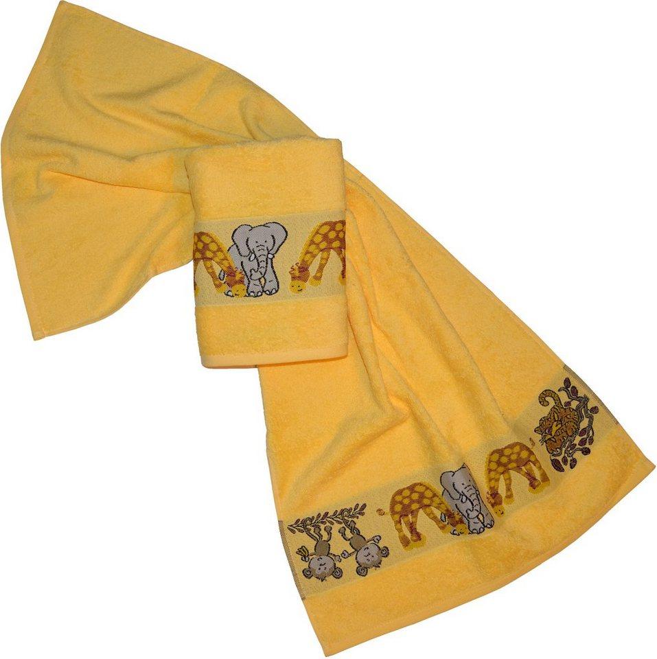 Handtücher, Dyckhoff, »Affe«, mit Tierbordüre in gelb
