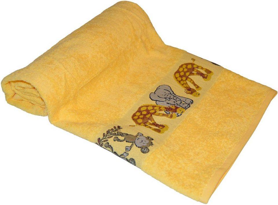 Badetuch, Dyckhoff, »Affe«, mit Tierbordüre in gelb