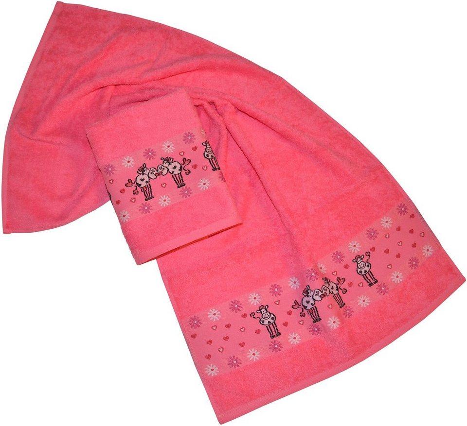 Handtücher, Dyckhoff, »Kuh«, mit Blümchen und Herzchen in pink