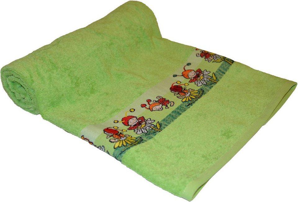 Badetuch, Dyckhoff, »Käfer«, mit kleinen Glückskäfern in grün