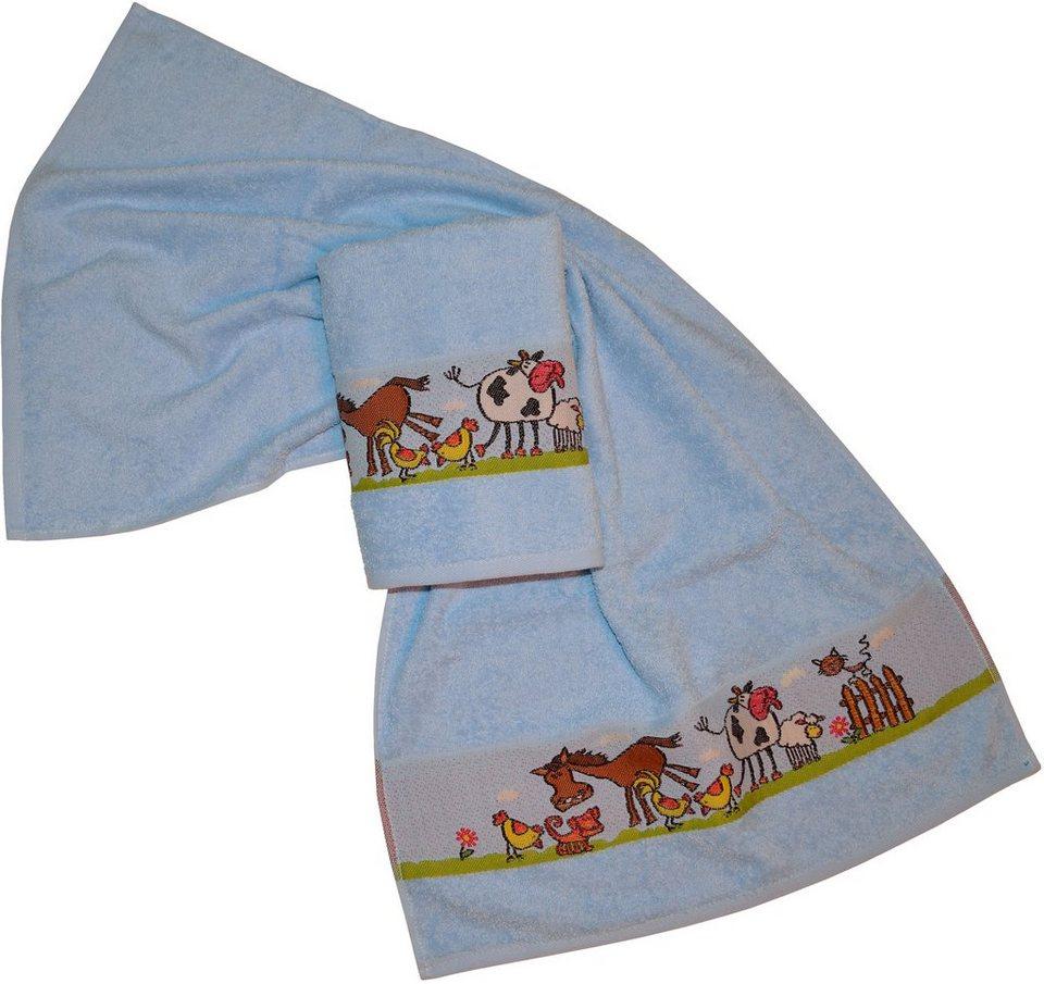 Handtücher, Dyckhoff, »Pferd«, mit Bauernhof Tieren in blau
