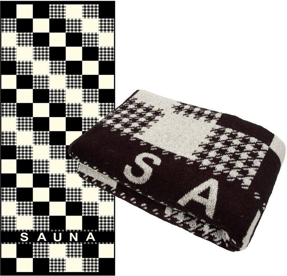Saunatuch, Dyckhoff, »Sauna Modern«, mit Hahnentrittmuster in schwarz-weiß