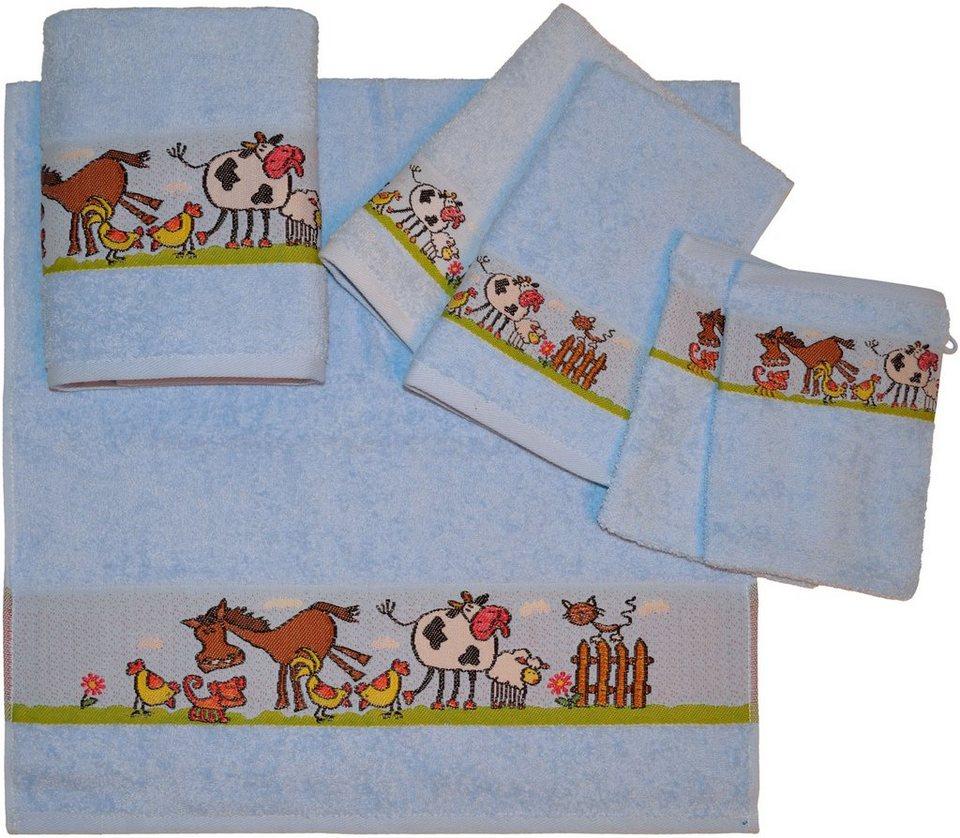 Handtuch Set, Dyckhoff, »Pferd«, mit Bauernhof Tieren in blau