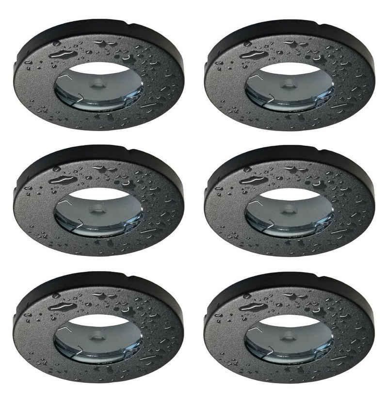 TRANGO LED Einbauleuchte, 6er Set 6729IP-065 Einbaustrahler Rund IP44 in Schwarz matt Badleuchte, Bad Einbauleuchte, Deckenspots, Einbauspots, Deckenleuchte inkl. 6x GU10 Lampenfassung für Bad, Sauna, Außen, Feuchtraum