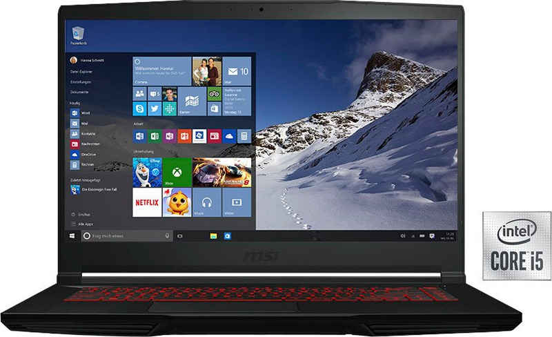 MSI GF63 Thin 10SC-233 Gaming-Notebook (39,6 cm/15,6 Zoll, Intel Core i5 10300H, GeForce GTX 1650, 512 GB SSD, Kostenloses Upgrade auf Windows 11, sobald verfügbar)