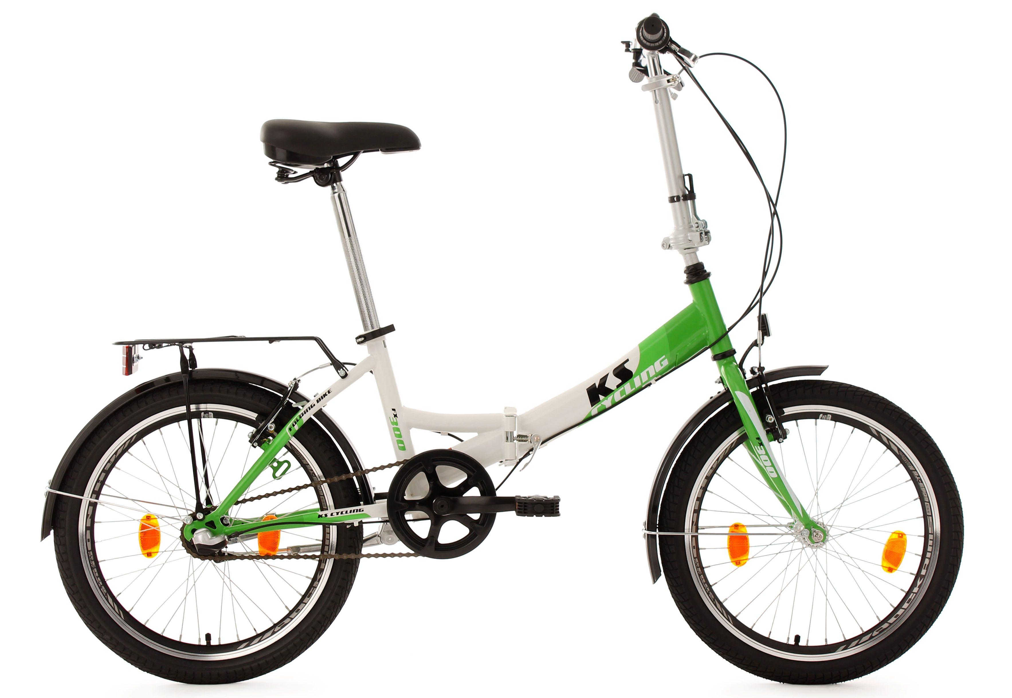 Faltrad, 20 Zoll, 3 Gang-Shimano-Nabenschaltung, weiß-grün, »FX300«, KS Cycling