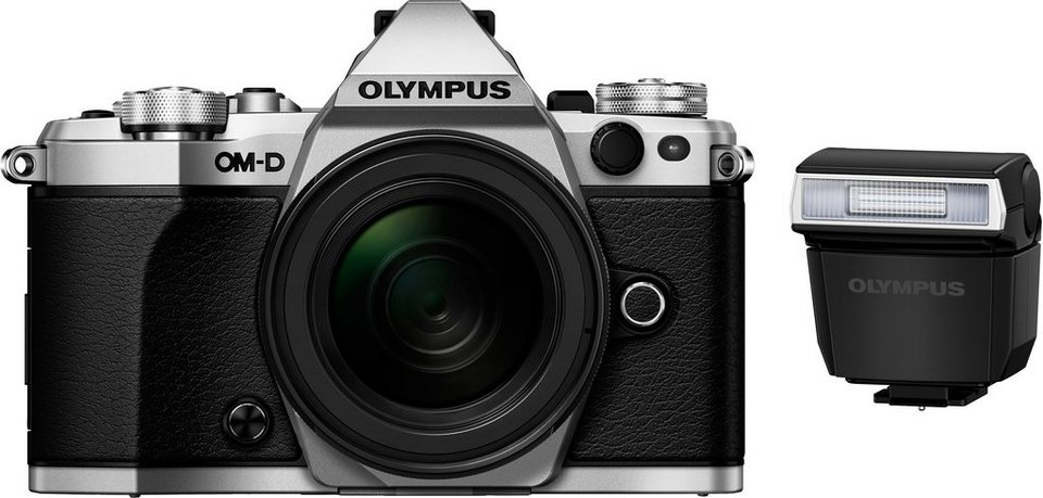 Olympus OM-D E-M5 Mark II Kit System Kamera, M.ZUIKO DIGITAL ED 12-50mm 1:3.5-6.3  Normalobjektiv in silberfarben