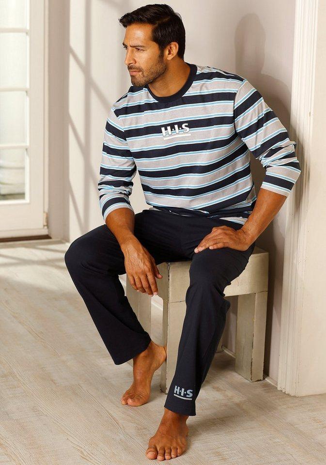 H.I.S langer Pyjama mit Logodruck auf Ober- und Unterteil in marine-grau