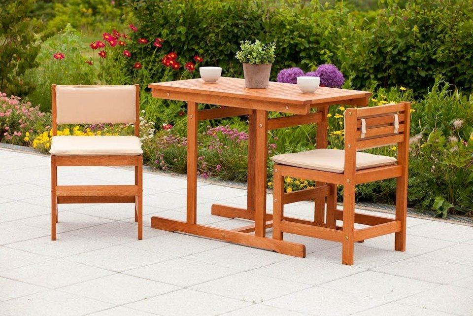 5-tgl. Gartenmöbelset »Valparaiso«, 2 Stühle, Tisch100x55 cm, Eukalyptusholz, braun in braun