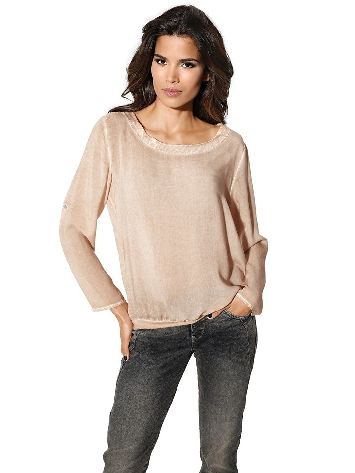 Oversized-Bluse in apricot