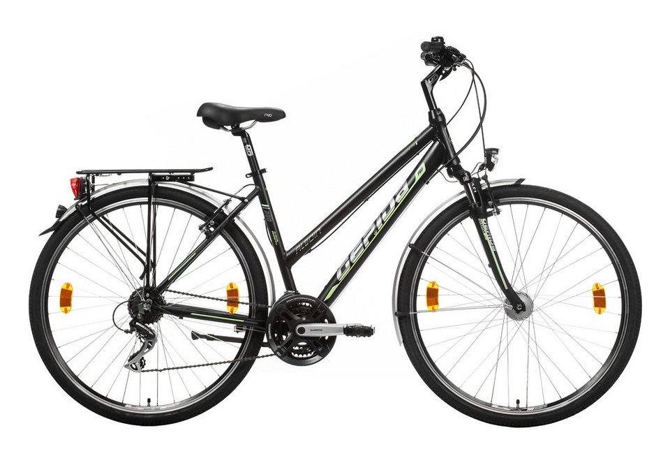 Damen Trekkingrad, 28 Zoll, 21 Gang Shimano Acera, V-Brakes, »Alboin 200 Pro«, Gepida in schwarz-grün
