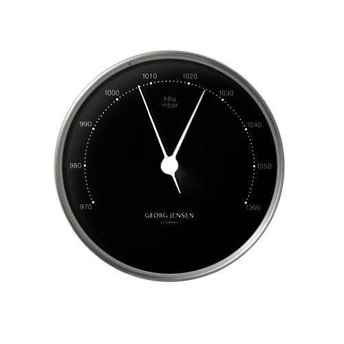 GEORG JENSEN Georg Jensen Barometer HENNING KOPPEL 10cm schwarz in Rahmen silber, Ziffe