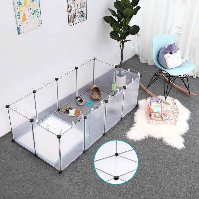 SONGMICS Kleintierkäfig »LPC02W LPC002G01«, Freigehege mit Bodenplatten, für Kleintiere, transparente