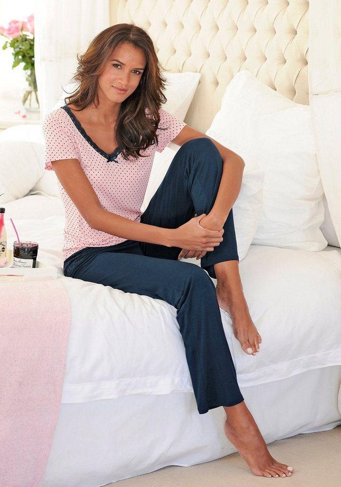 LASCANA Edler Pyjama mit gepunktetem Shirt & Spitzenkante in rosa gepunktet-nachtblau
