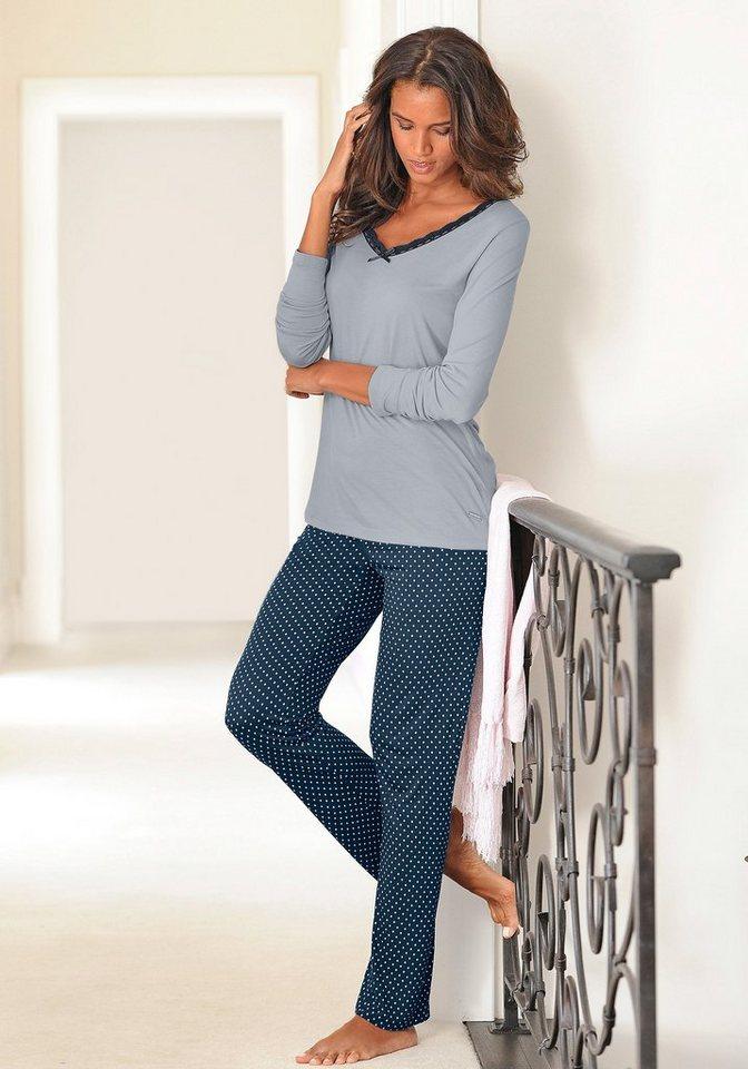 LASCANA Edler Pyjama mit gepunkteter Hose in grau-nachtblau gepunktet