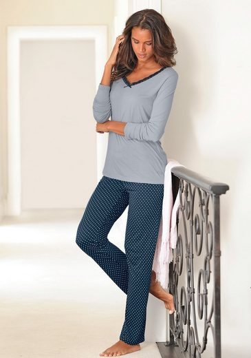 LASCANA Edler Pyjama mit gepunkteter Hose