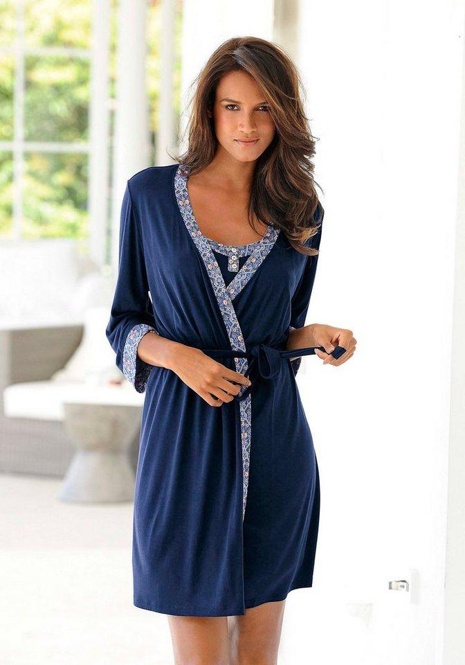 marie claire Kimono mit Kante im Ornamentprint in nachtblau