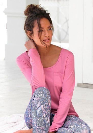 Petite Fleur Basic Langarmshirt Paradise With Breast Pocket