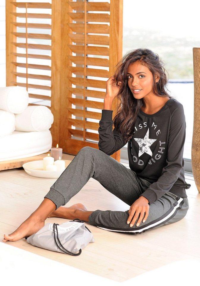 Buffalo Pyjama mit sportiver Hose & Shirt mit Sternprint in schwarz-anthrazit