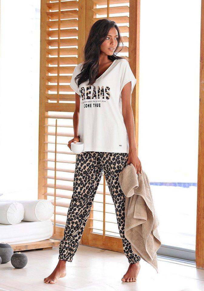 Buffalo Pyjama mit schmaler Hose im Leolook in ecru/leo gemustert