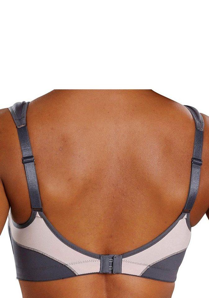 Damen H.I.S Sport-BH mit Kontrasteinsätzen für starke Belastbarkeit grau, rosa, weiß | 04894527000164