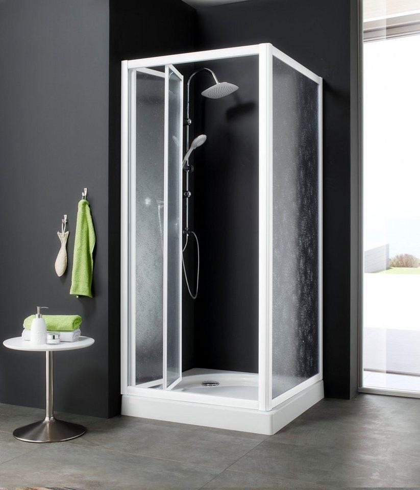Eckdusche »Kristall Trend«, 90 cm x 90 cm in weiß