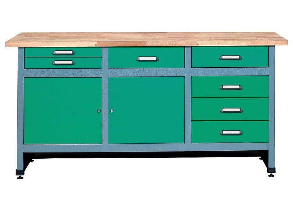 Küpper Werkbank »in grün, 2 Türen, 7 Schubladen« in grün