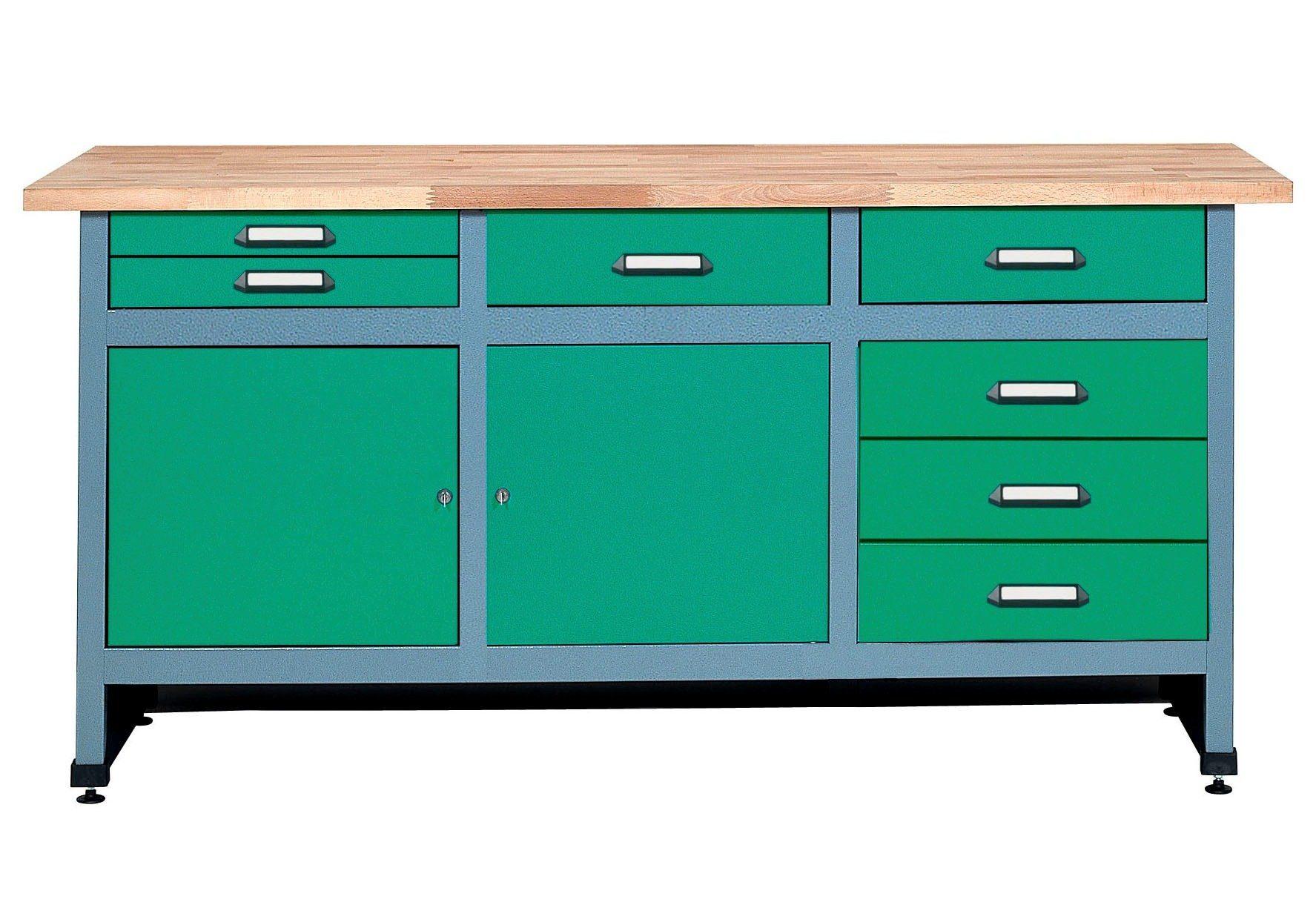 Küpper Werkbank »in grün, 2 Türen, 7 Schubladen«