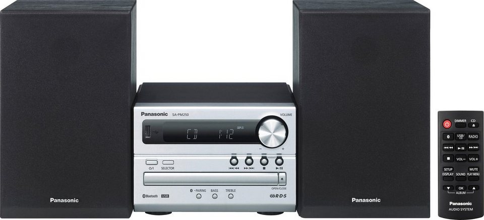 Panasonic SC-PM250BEG-S Kompaktanlage, Panasonic Music Streaming App, Bluetooth, Digitalradio (DAB+) in Silber