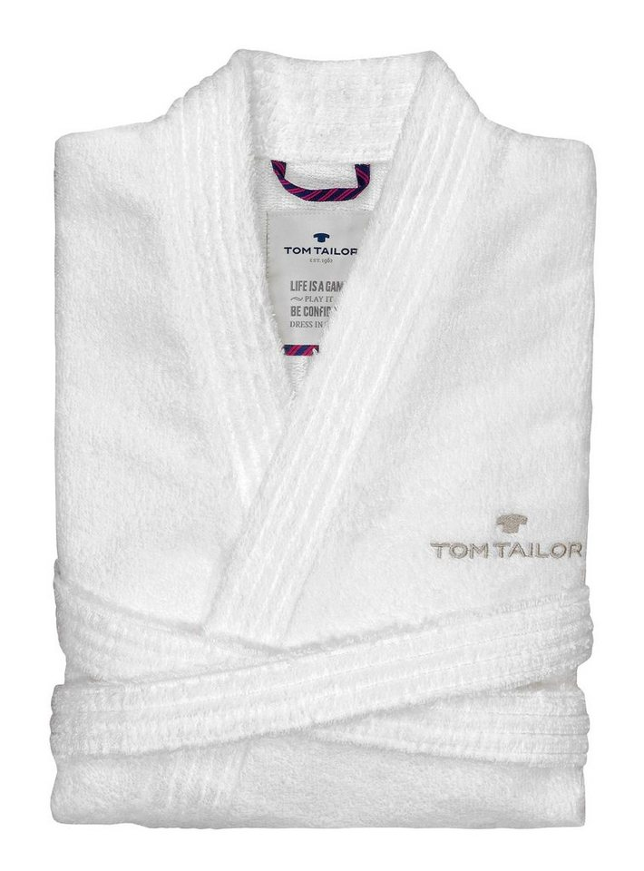 Unisex-Bademantel, Tom Tailor, »Kimono«, mit Logostickerei in weiß