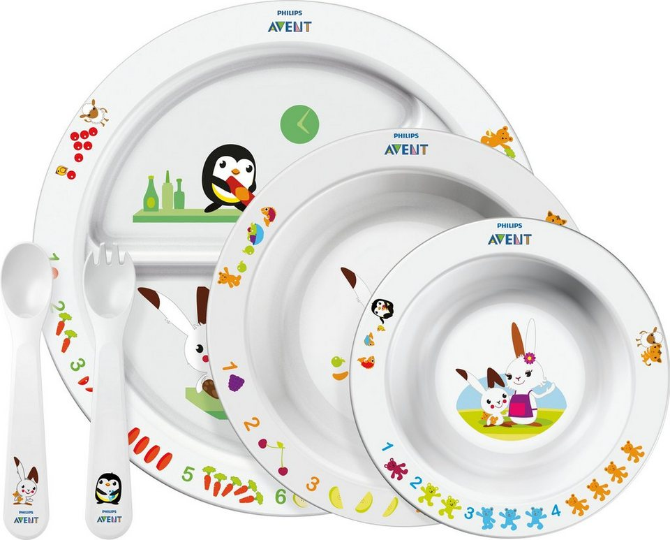 Philips Avent Ess-Lern-Set SCF716/00 für Kinder ab 6 Monaten in weiß/mehrfarbig