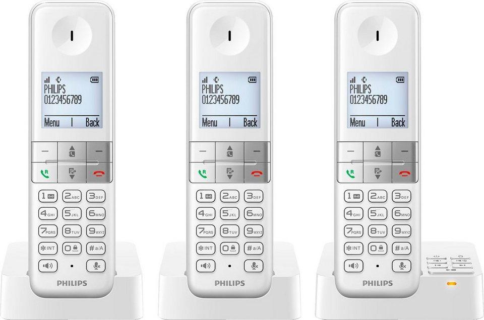 Philips D4553W/38 TRIO Schnurloses DECT Telefon-Set mit AB in weiß