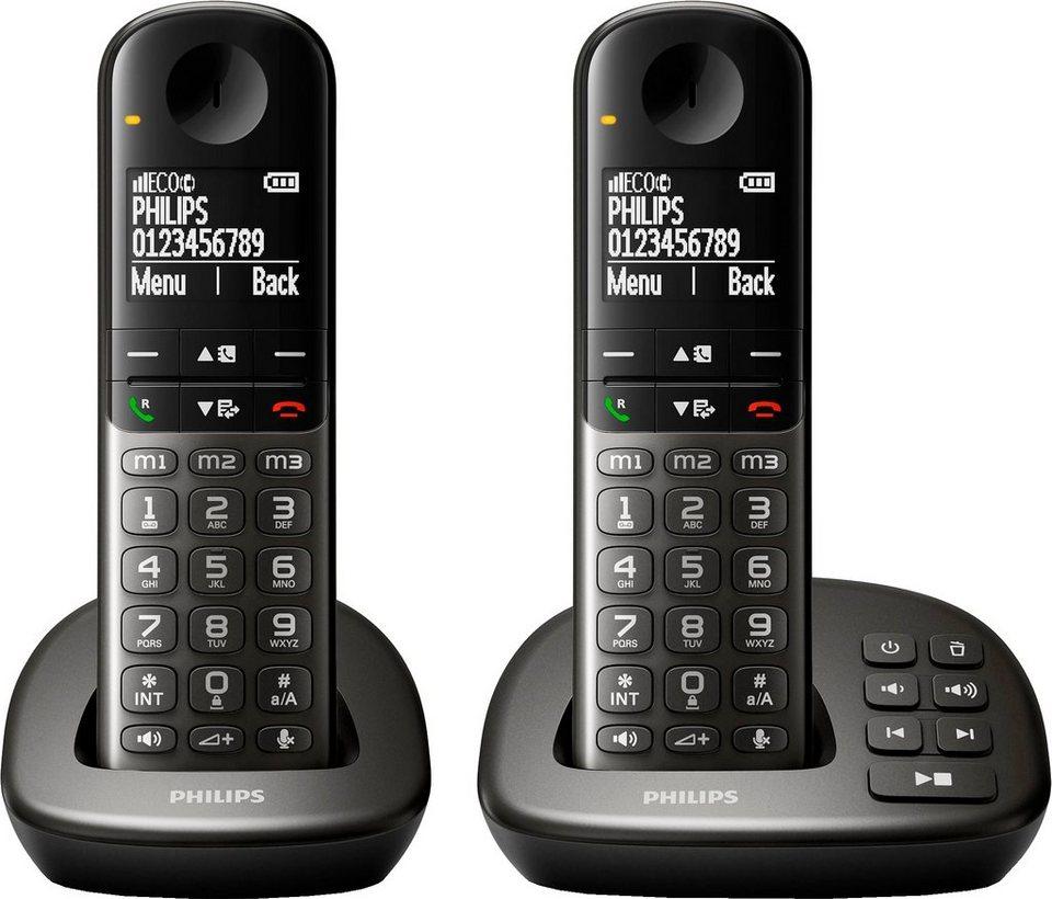 Philips XL4952/38 DUO Schnurloses DECT Telefon-Set mit AB in schwarz