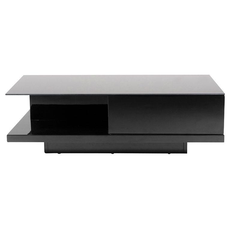 Synoun Couchtisch schwarz Hochglanz mit Schublade 120×60