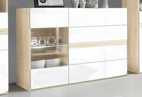 Sideboard, Breite 130 cm in weiß Hochglanz/ eichefarben sägerau