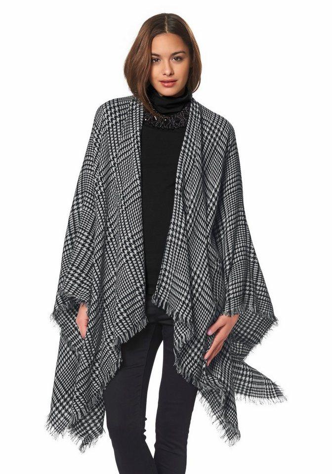 Vero Moda Poncho »CLARA« mit Hahnentritt-Muster in schwarz-weiß-gemustert